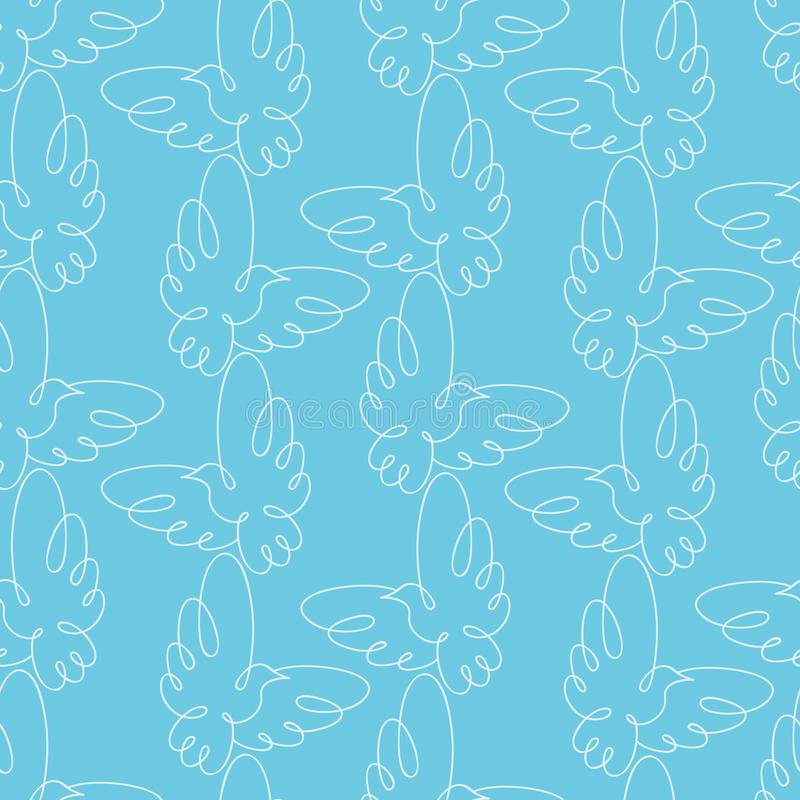Free Seamless Pattern With Doves. Vector Illustration. Royalty Free Stock Images - 45134429