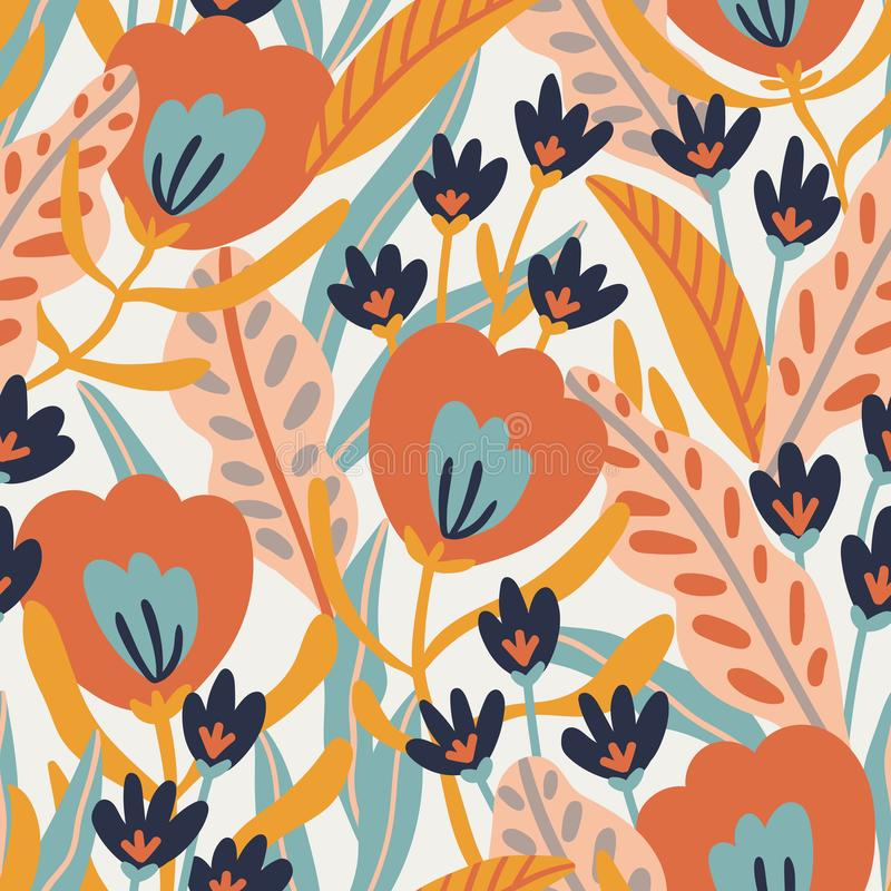 Free Seamless Pattern With  Exotic Flowers And Tropical Leaves In  Hand Drawn Style.  Vector Fashion Repeated Fabric Design Stock Photo - 164308840