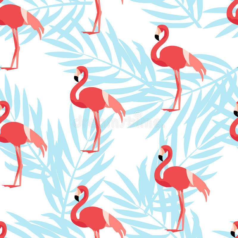 Free Seamless Pattern With Flamingo And Palm Branches. Ornament For Textile And Wrapping. Vector Stock Photos - 87461073
