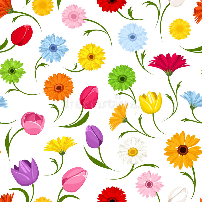 Free Seamless Pattern With Flowers. Vector Illustration. Stock Photos - 40440333