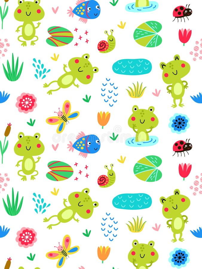 Free Seamless Pattern With Frogs Stock Photo - 130454810