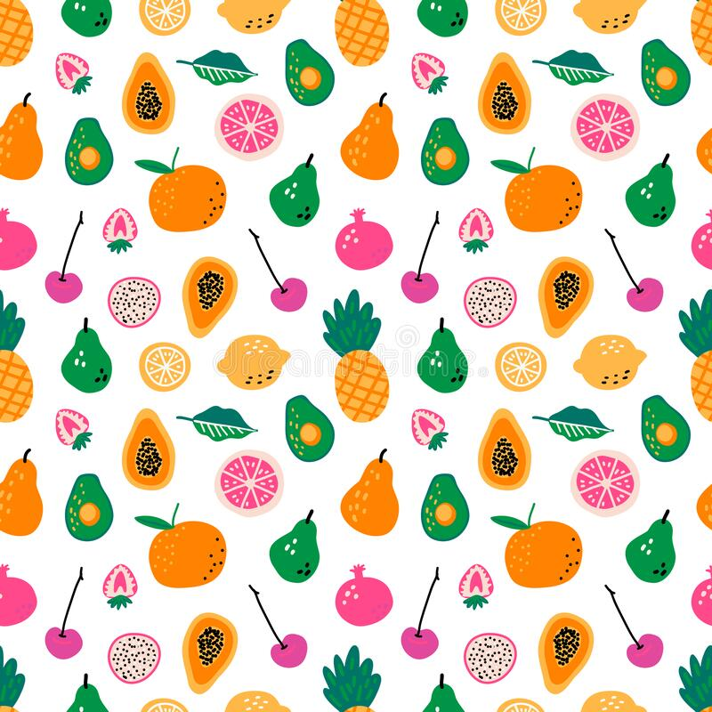 Free Seamless Pattern With Fruits. Hand Drawn Vector. Cooking Ingredients. Scandinavian Style Menu Greengrocery. Royalty Free Stock Images - 218335599