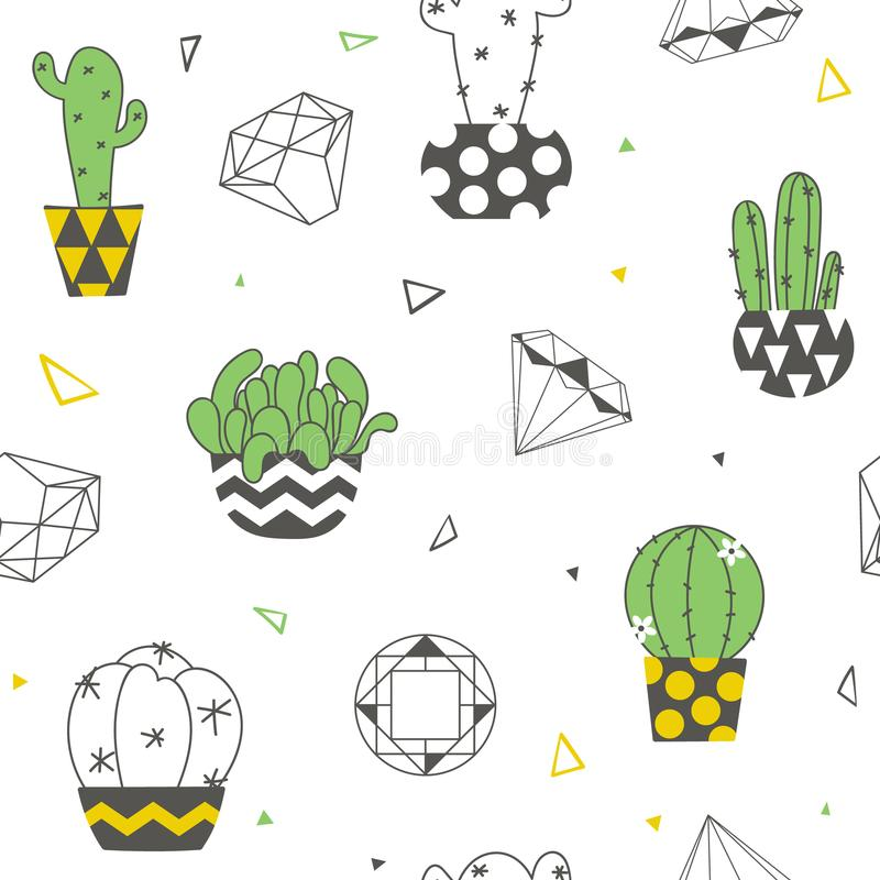 Free Seamless Pattern With Funny Cacti Royalty Free Stock Photos - 119311938