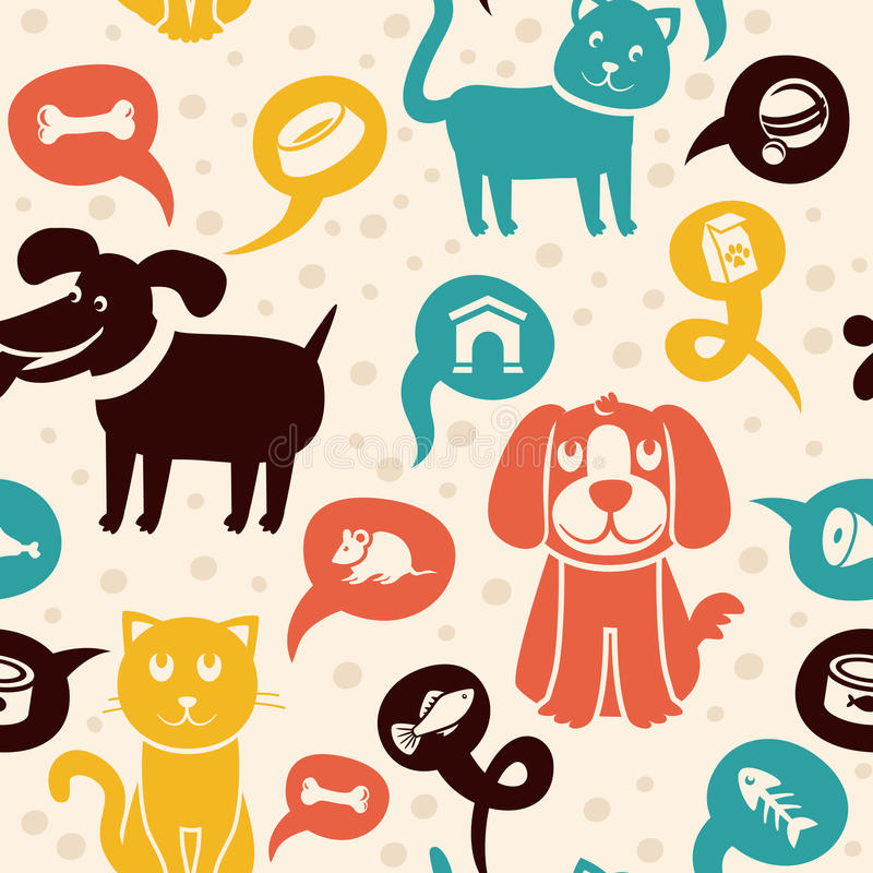 Free Seamless Pattern With Funny Cats And Dogs Royalty Free Stock Image - 27338726