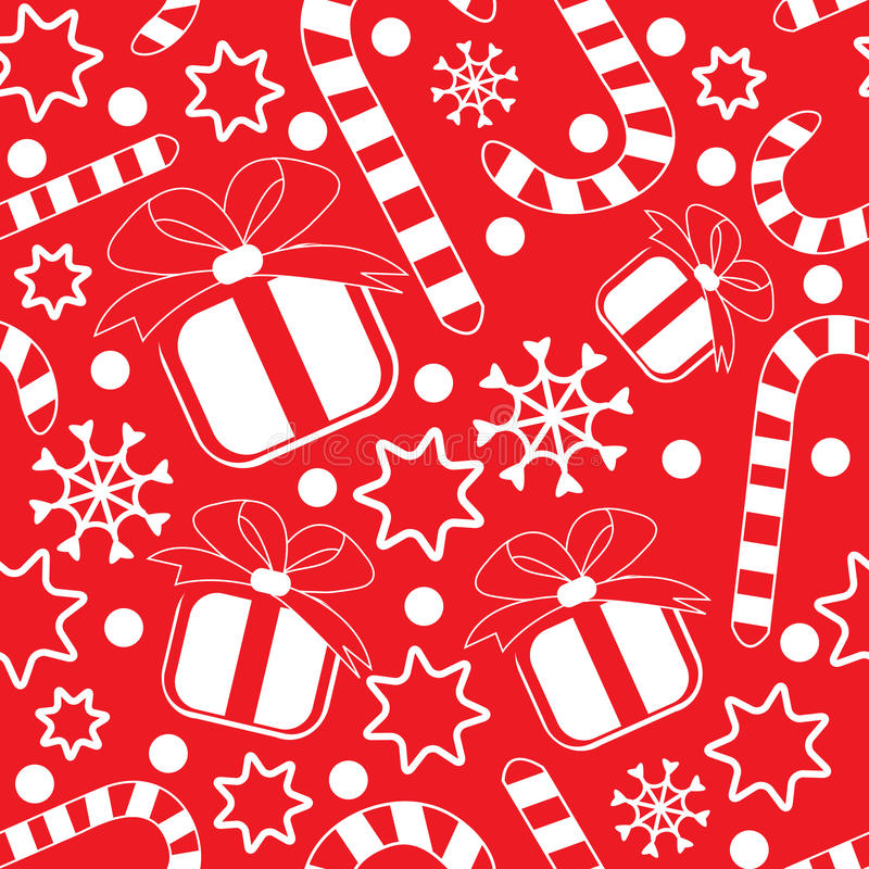 Free Seamless Pattern With Gifts And Candy Canes Royalty Free Stock Photo - 12005695