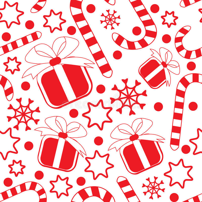 Free Seamless Pattern With Gifts, Candy Canes And Stars Stock Images - 12281444