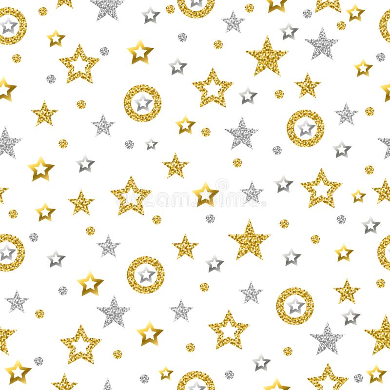 Free Seamless Pattern With Golden And Silver Glittering Stars. Gold Seamless Pattern. Repeatable Background. Can Be Used For Fabric, Stock Photo - 141889690