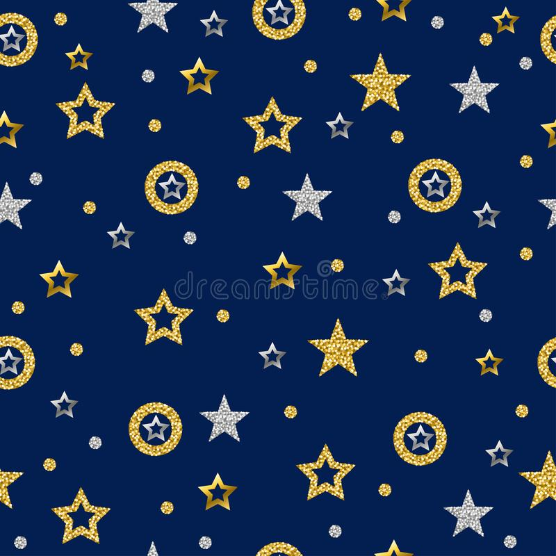 Free Seamless Pattern With Golden And Silver Glittering Stars. Gold Seamless Pattern. Repeatable Blue Background. Can Be Used For Stock Image - 141696471