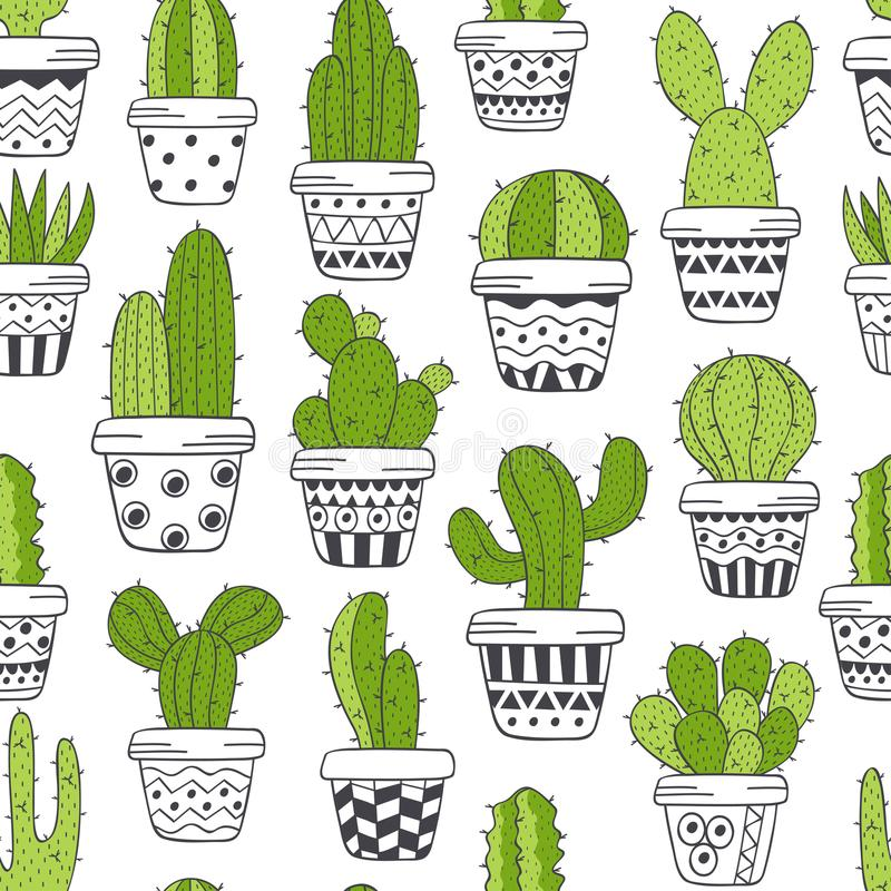 Free Seamless Pattern With Green Cactus In Pots Black And White Royalty Free Stock Images - 112090759