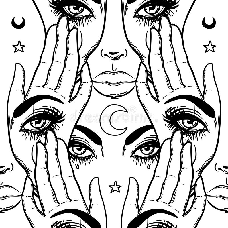Free Seamless Pattern With Hands With The All-seeing Eye On The Palm. Royalty Free Stock Photo - 93031605