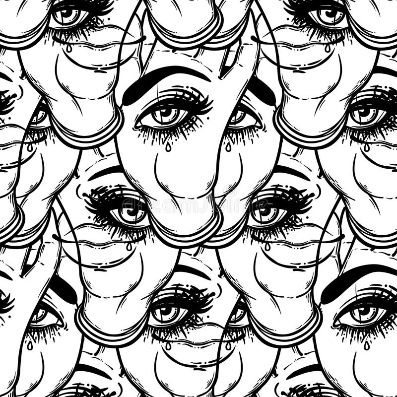 Free Seamless Pattern With Hands With The All-seeing Eye On The Palm. Stock Photos - 93031683