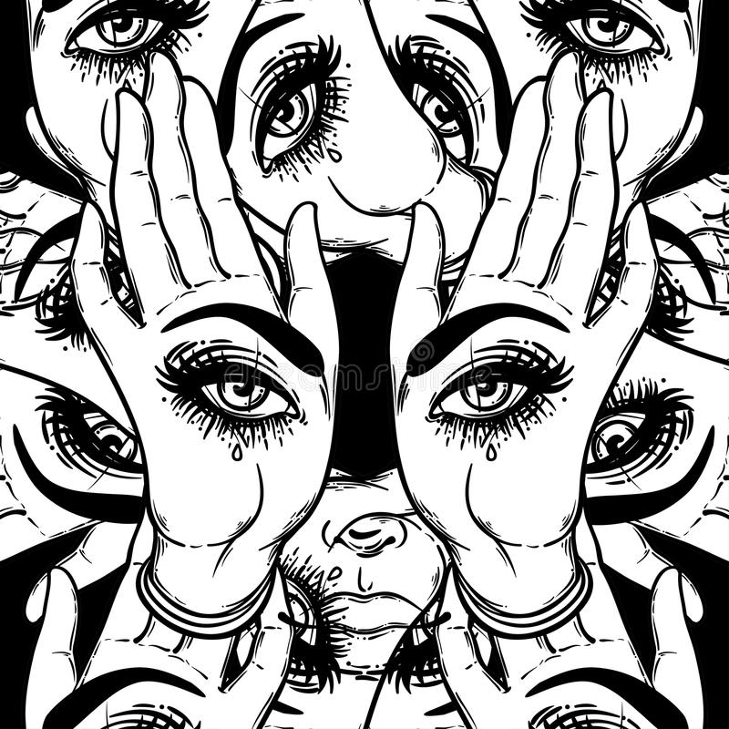 Free Seamless Pattern With Hands With The All-seeing Eye On The Palm. Royalty Free Stock Photo - 93031805
