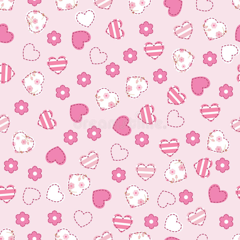 Free Seamless Pattern With Hearts And Flowers Royalty Free Stock Photos - 48168238