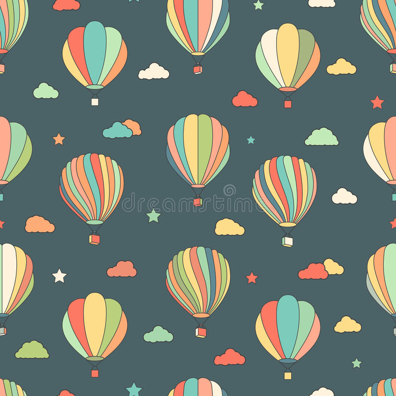 Free Seamless Pattern With Hot Air Balloons, Stars, Clouds Stock Photo - 61244480