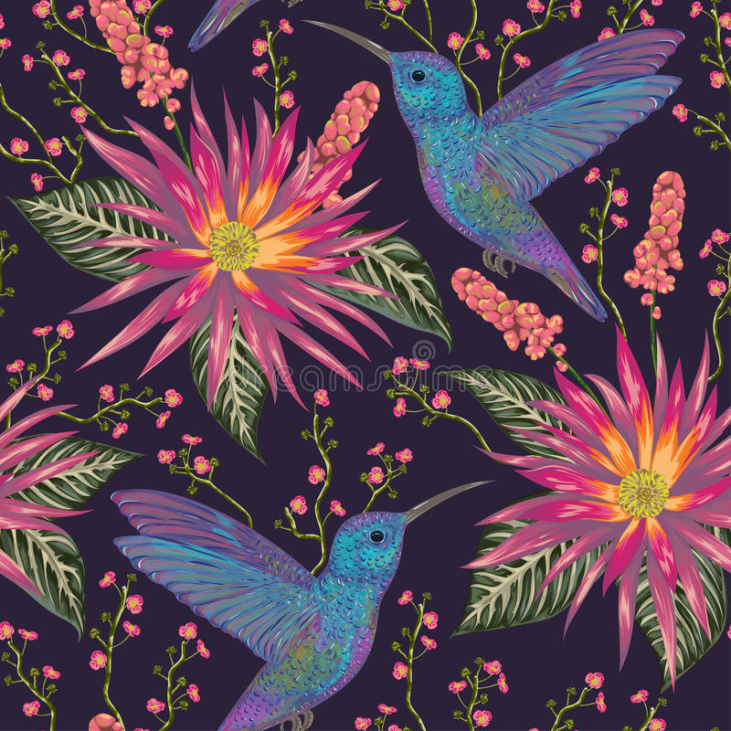 Free Seamless Pattern With Hummingbird, Tropical Flowers,berries And Leaves. Exotic Flora And Fauna. Royalty Free Stock Photography - 95286707