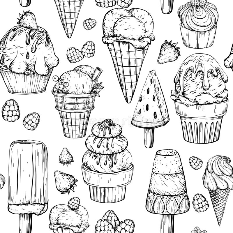 Free Seamless Pattern With Ice Cream. Black And White Royalty Free Stock Photos - 133775188
