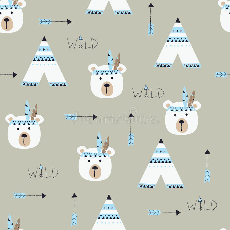 Free Seamless Pattern With Indian Bears Royalty Free Stock Images - 92361729