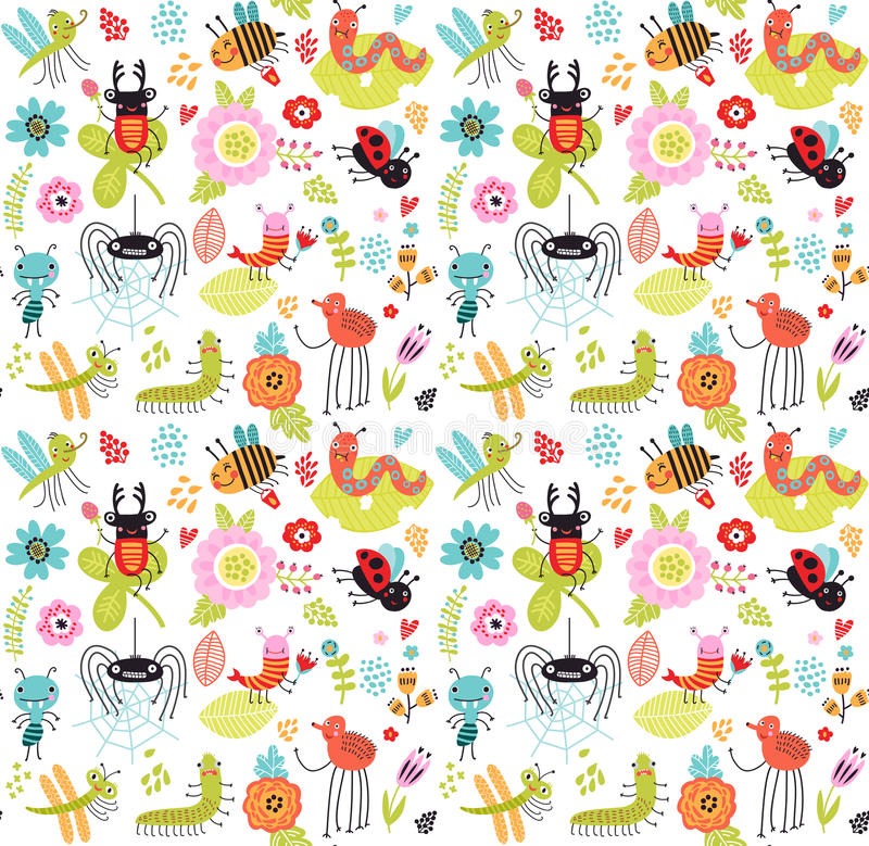 Free Seamless Pattern With Insects And Flowers. Stock Photos - 92171803
