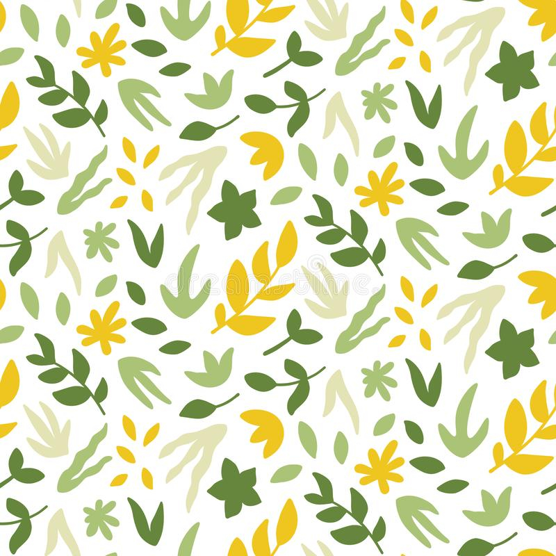 Free Seamless Pattern With Leaves. Bright Spring Print With Hand Drawn Plants. Royalty Free Stock Photography - 144107717