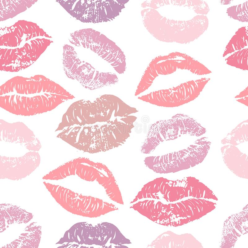 Free Seamless Pattern With Lipstick Kisses. Colorful Lips Of Gentle Purple And Pink Shades Isolated On A White Background. Royalty Free Stock Photos - 107670918