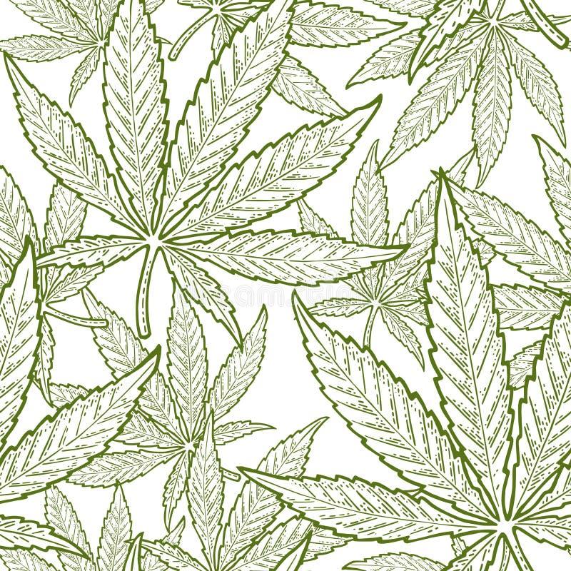 Free Seamless Pattern With Marijuana Leaf. Vintage Black Vector Engraving Illustration Royalty Free Stock Images - 120501969