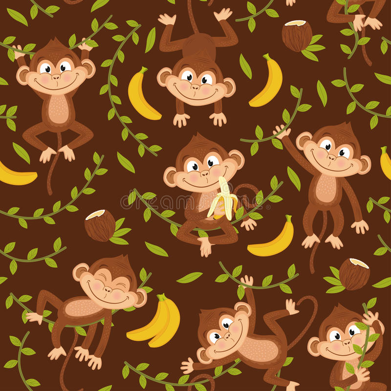 Free Seamless Pattern With Monkey On Brown Background Stock Photos - 93333573
