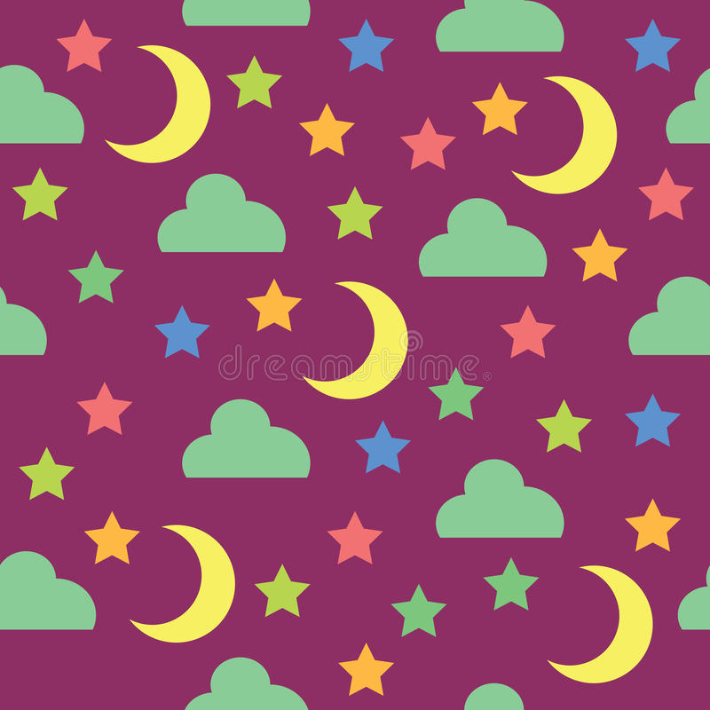 Free Seamless Pattern With Night Sky, Moon, Stars And Clouds Royalty Free Stock Image - 96896206