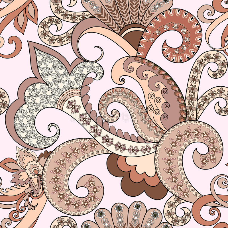 Free Seamless Pattern With Paisley, Decorative Swirls In Pastel Shade Stock Images - 54384124