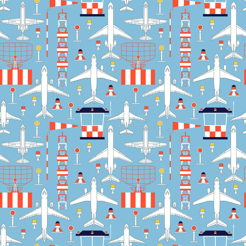 Free Seamless Pattern With Passenger Airplanes And Aerodrome Facilities Stock Photos - 81100273