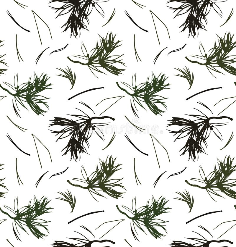 Free Seamless Pattern With Pine Branches, Vector Background With Needles. Nature Graphic Texture Royalty Free Stock Photos - 101950088