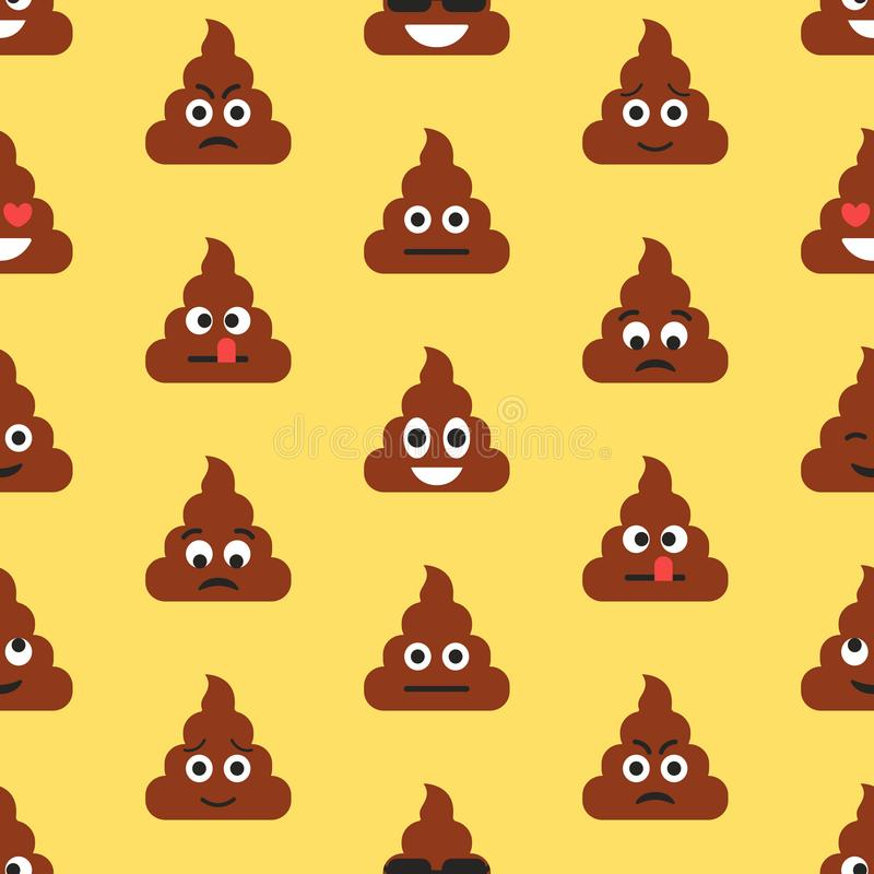Free Seamless Pattern With Poop Emojies. Emoticons Background. Texture Stock Photography - 122993122