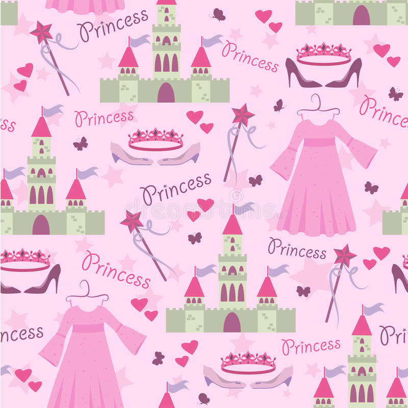 Free Seamless Pattern With Princess Accessories Royalty Free Stock Image - 19418546