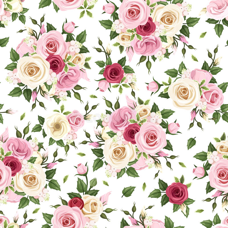 Free Seamless Pattern With Red, Pink And White Roses. Vector Illustration. Royalty Free Stock Photography - 42300407