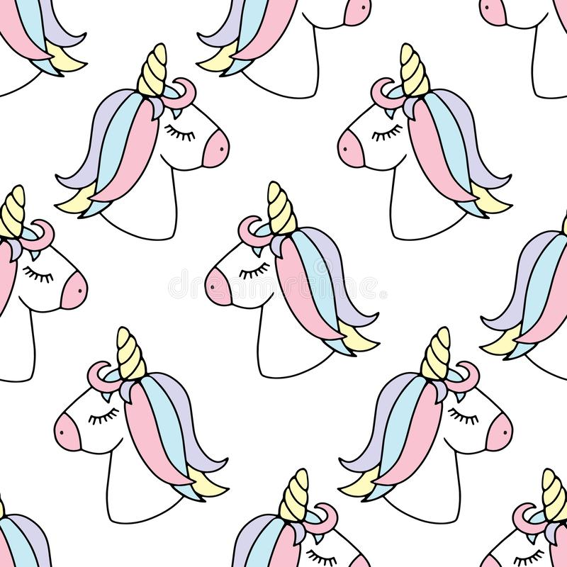 Free Seamless Pattern With Sea Horses On A Blue Background. Unicorn. For The Design Of Fabrics, Wallpapers And So On. Vector Royalty Free Stock Photo - 147690685