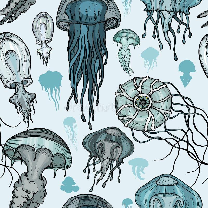 Free Seamless Pattern With Sea Jellyfish. Royalty Free Stock Image - 119770076