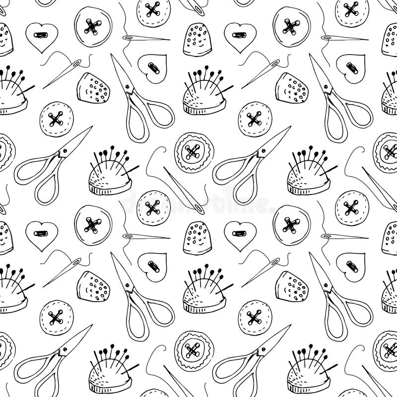 Free Seamless Pattern With Sewing Items Royalty Free Stock Image - 66866636