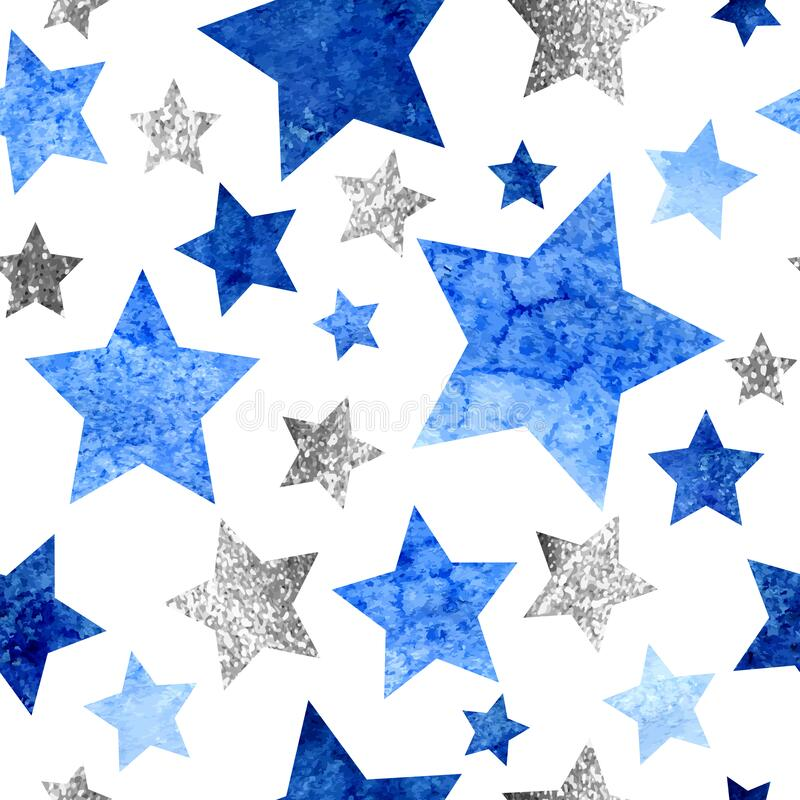 Free Seamless Pattern With Silver Glitter And Blue Watercolor Stars On White Background Stock Photo - 187136140