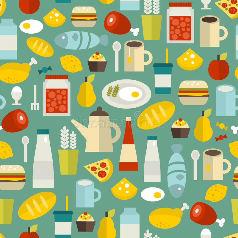 Free Seamless Pattern With Simple Food. Stock Images - 38227874