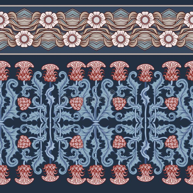 Free Seamless Pattern With Thistle Flower, Background In N Art Nouveau Style, Vintage, Old, Retro Style.n Royalty Free Stock Image - 124074546