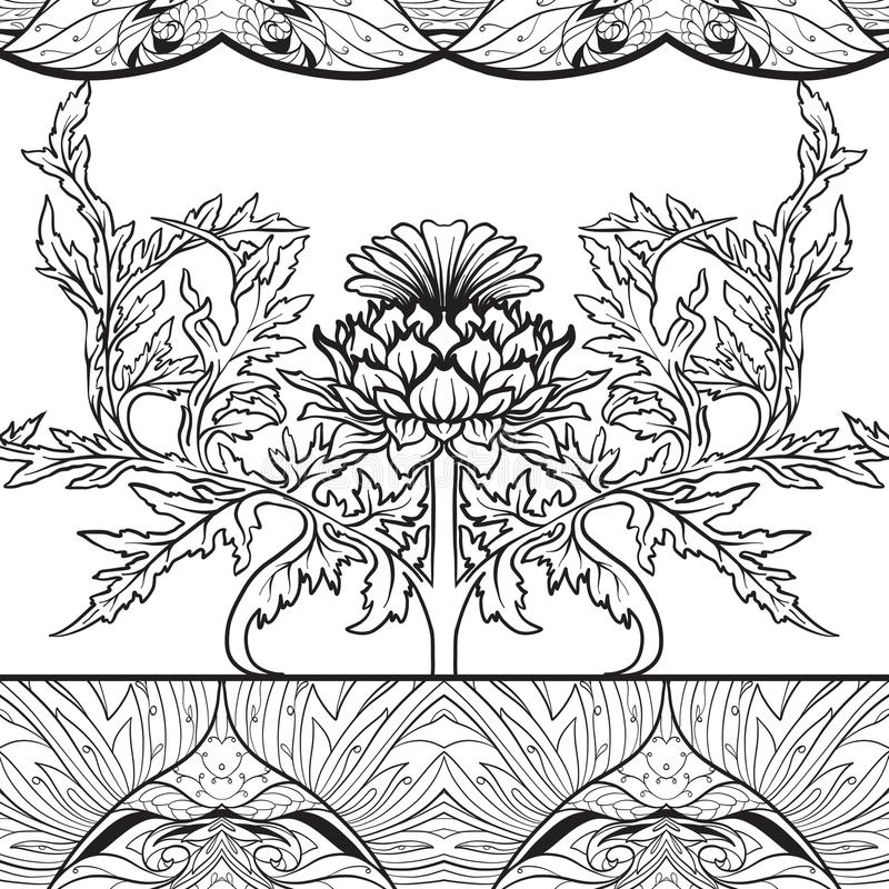 Free Seamless Pattern With Thistle Flower, Background In N Art Nouveau Style, Vintage, Old, Retro Style.n Stock Images - 124728684