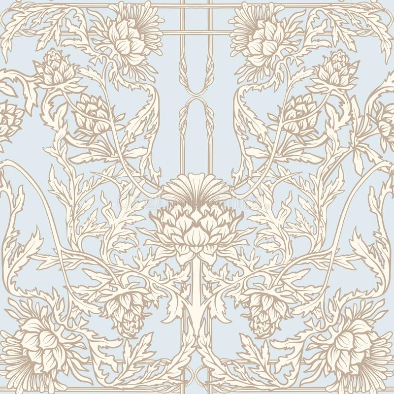 Free Seamless Pattern With Thistle Flower, Background In N Art Nouveau Style, Vintage, Old, Retro Style.n Stock Photos - 124728753