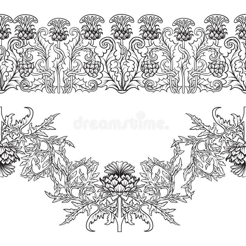 Free Seamless Pattern With Thistle Flower, Background In N Art Nouveau Style, Vintage, Old, Retro Style.n Royalty Free Stock Photography - 124728867