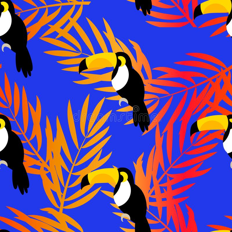 Free Seamless Pattern With Toucan And Palm Branches For Textiles And Wrapping. Stock Images - 100207824