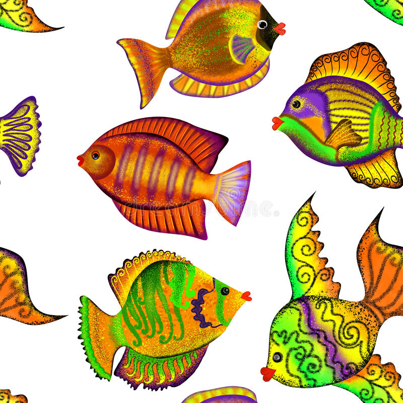 Free Seamless Pattern With Tropical Fish On A White Background Royalty Free Stock Photo - 49804265