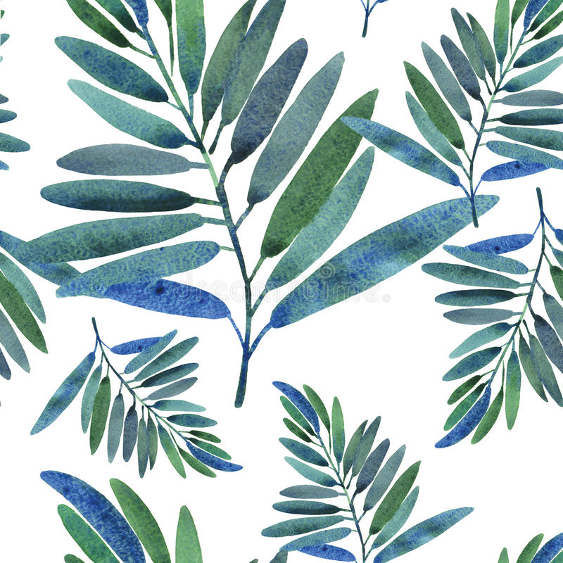 Free Seamless Pattern With Tropical Leaves Royalty Free Stock Images - 26061319