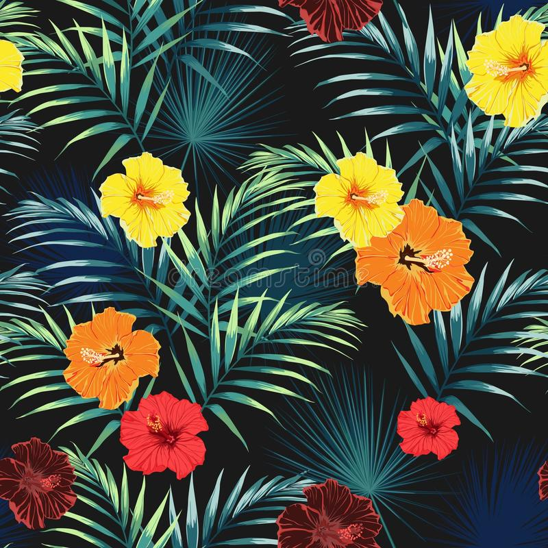 Free Seamless Pattern With Tropical Leaves And Paradise Yellow, Orange, Red Hibiscus Flowers. Royalty Free Stock Photos - 120179928
