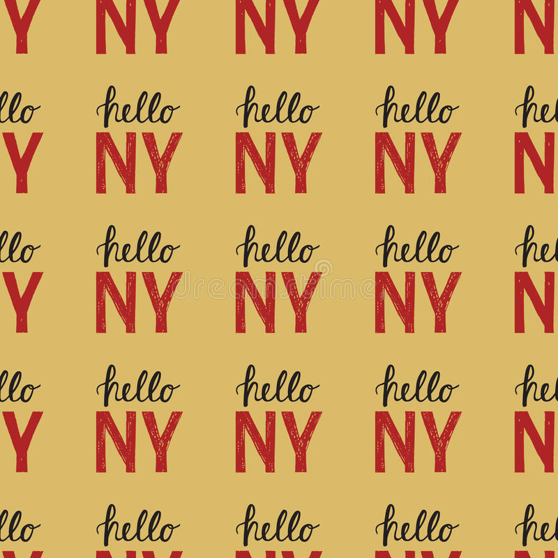 Free Seamless Pattern With Vintage Quote Hello NY New York Stock Photos - 81184773