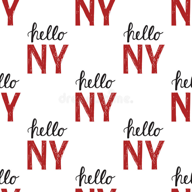 Free Seamless Pattern With Vintage Quote Hello NY New York Royalty Free Stock Photography - 81191737