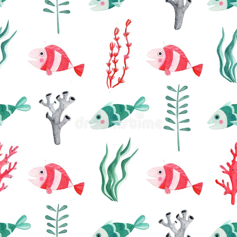 Free Seamless Pattern With Watercolor Fish, Seaweed And Corals Royalty Free Stock Image - 160847766