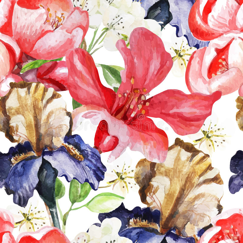 Free Seamless Pattern With Watercolor Flowers. Iris Stock Image - 54348051